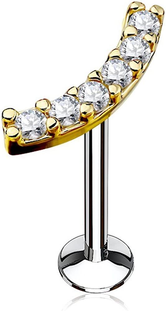 Covet Jewelry Lined CZ Curve Top 316L Surgical Steel Internally Threaded Labret, Monroe, Cartilage Studs