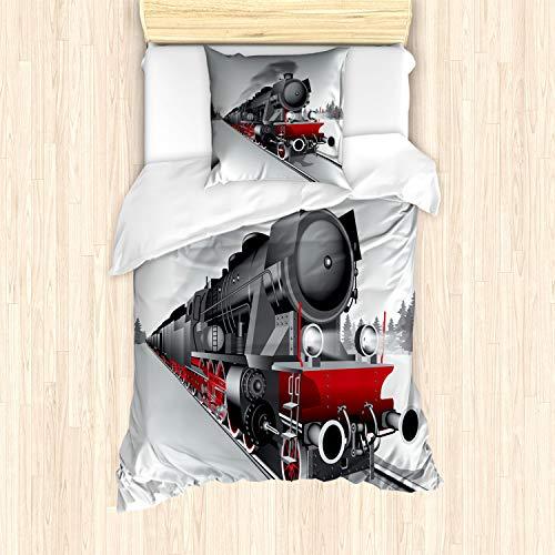 ABAKUHAUS Dampfmaschine Bettbezug Set für Einzelbetten, Eisenbahn Zug Kunst, Milbensicher Allergiker geeignet mit Kissenbezug, Grau Rot