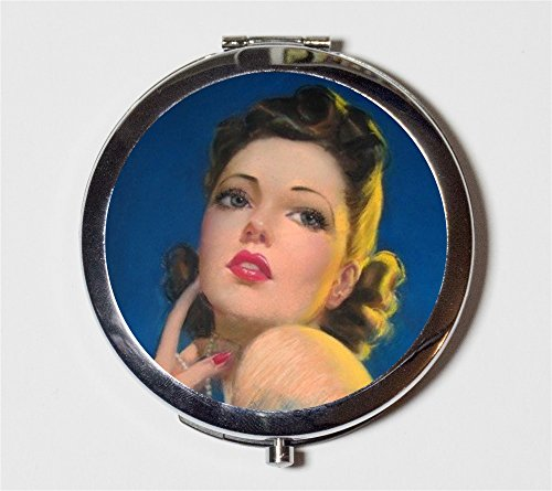Pin Up Girl Compact Mirror Retro Pinup Make Up Pocket Mirror for Cosmetics