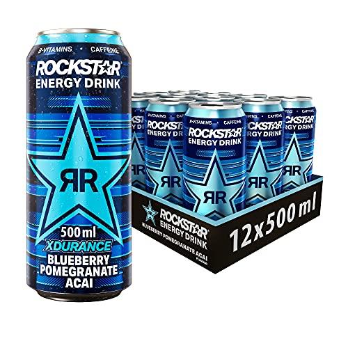 Rockstar Energy Drink XDurance Blueberry - Koffeinhaltiges Erfrischungsgetränk für den Energie Kick, EINWEG (12x 500ml)