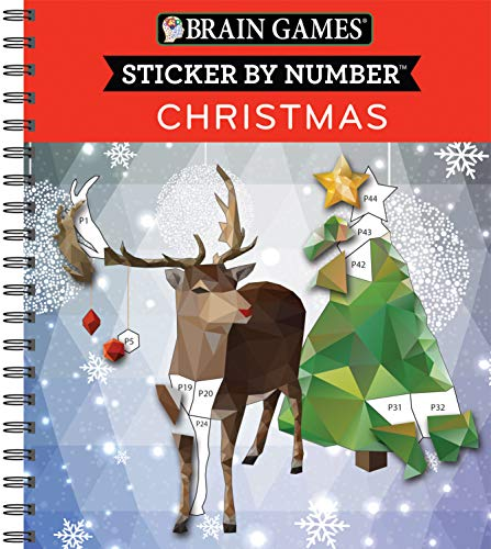 Brain Games - Sticker by Number: Christmas (Geometric Stickers)