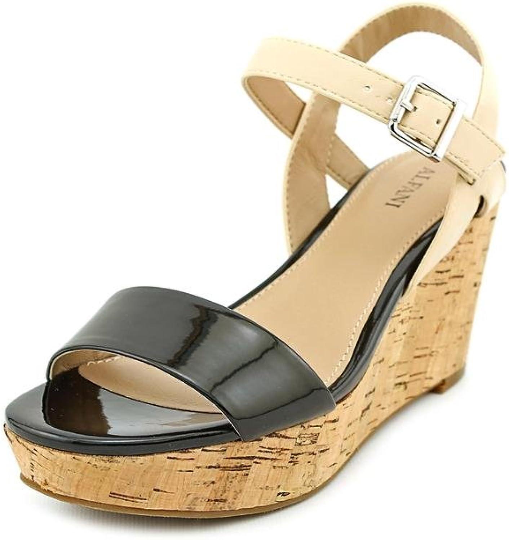 Alphani Woherrar Pyper Platform Wedge Sandals, svart    Pale, Storlek 9.5  trendig