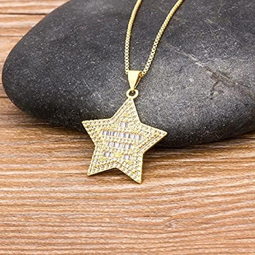 AQING Moda Simple Estrella Gargantilla Collar para Mujer Elegante Encanto señoras Cadena de Oro Collares con Colgante romántico San Valentín Chica regalos-N138
