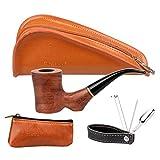 FIREDOG - Pipa per tabacco, in legno di rosa, con sacchetto per pipa in pelle, piccola borsa per tabacco, 3 in 1 in acciaio inox porta manomissione Produttore: FIREDOG