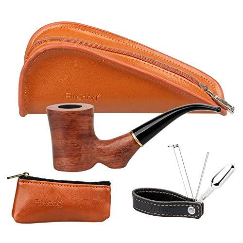 Kit de pipa de tabaco Firedog – tubo de fumar de madera de rosa, bolsa de pipa de cuero dividida, bolsa pequeña para tabaco, soporte para tuberías 3 en 1 de acero inoxidable