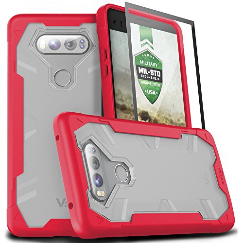 Zizo Proton 2.0 Series Compatible with LG V20 Case Military Grade Drop Tested with Tempered Glass Screen Protector RED Clear