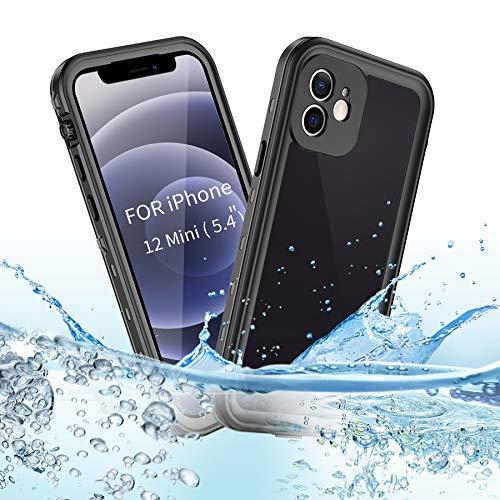 BDIG Hülle iPhone 12 Mini Wasserdicht, 360 Grad Rundum Schutz mit Eingebautem Displayschutz Outdoor TPU Transparent Bumper IP68 Stoßfest Handyhülle Schutzhülle Kompatibel mit iPhone 12 Mini