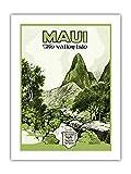 Maui, Hawai – La isla del valle – Iao Valley – Aguja de Montaña – Folleto de viaje hawaiano c.1929 – Primer papel de bambú, impresión artística 43 x 56 cm