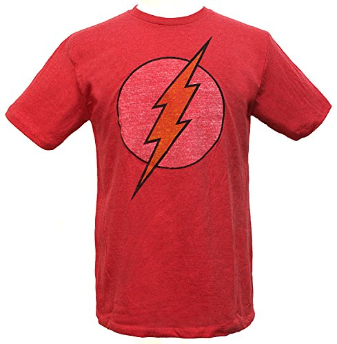 DC Comics Men's Flash Ultra Distressed Logo T-Shirt (Medium, Vintage Red Heather)
