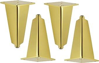 Set van 4 tafelpoten, meubelpoten in hoogte verstelbaar, goudkleurig, verwisselbare meubelpoten, anti-roest, voor kast, ba...
