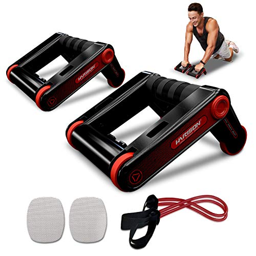 HARISON AB Roller Wheel Push up Bars Core Strength Abdominal Trainers with Knee Pad and Resistance bands , AB Home Gym Fitness Equipment for Home Office Workout