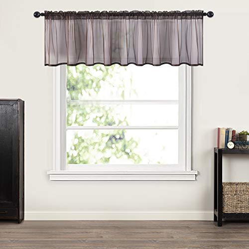 MIULEE Window Valance Half Window Sheer Curtains Rod Pocket Semitranslucent Voile Drapes Extra Wide for Small Window Kitchen Cafe One Panel 60 x 18 Inch Coffee