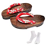 Japanese Wooden Clogs Sandals Japan Traditional Shoes Geta With Tabi Socks For Women (US 5-6 / 23cm)