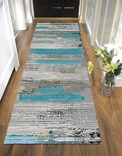 Orumrud Alfombra moderna larga gris de calidad se puede cortar antideslizante, pasillo piso, alfombra larga para pasillo