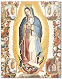 Virgin Mary Our Lady of Guadalupe Icon Wall Art Print - Religious Artwork for Home Decor, Dia de los Muertos Altar - 8x10 - Unframed