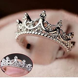 MAIHAO Fashion Princess Silver Rhinestone Crown Wedding Rings Size(6-10) (US Code 9)