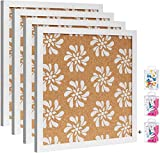 """Cork Board Bulletin Board with White Floral Print 12""""X 12"""" Square Wall Tiles,Modern Framed Corkboard for School, Home,Office (Set Including 20 Push Pins,20 Colorful Clip Pins,Hardware and Template)"""