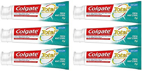 Colgate Total Fresh Mint Stripe Gel Toothpaste, 6.3 Ounce, 6 Pack