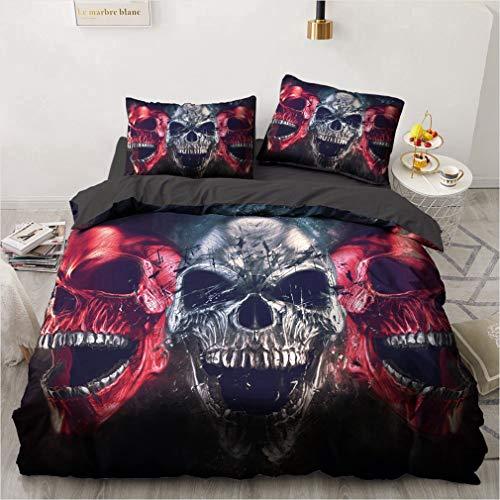 NEWAT Beauty Skull Bettbezug, Gothic-Bettbezug, Totenkopf-Bettwäsche, bedruckt, mit Reißverschluss, für Kinder und Erwachsene (X,135 x 200 cm)