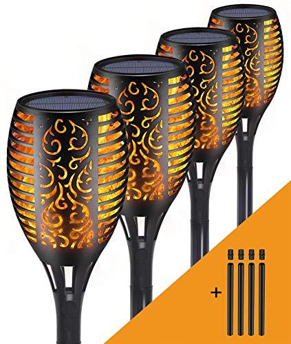 Marlrin Fiamma di Luce Solare, Torce da Giardino Lampada, lampada a 96 led ad energia solare con Effetto Fiamma Tremolante Realistico, Auto-ON/OFF, IP65 Decorazione del Giardino (4 pezzi)