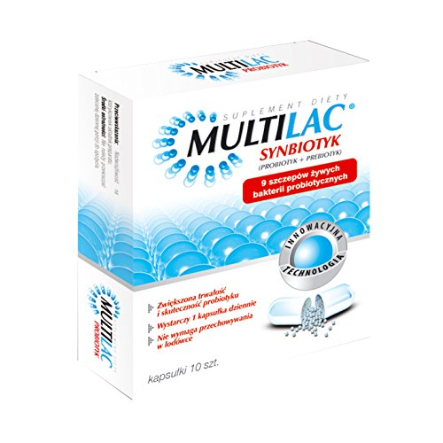 MULTILAC - 10 capsules, Synbiotics, which includes 9 selected strains of probiotic bacteria living. Indications: - during and / or after antibiotic therapy, - the functional bowel disorders (such as bloating, constipation, irritable bowel syndrome), - diarrhea of different etiologies, - in allergic diseases, - in increased susceptibility to infection (colds)
