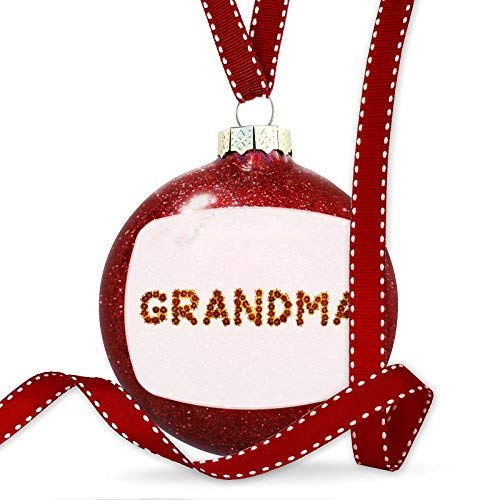 WSMBDXHJ Christmas Decorations Baubles Grandma Red Yellow Flowers Ornament Glass Christmas Ornaments 2018 for Tree for the Home Novelty