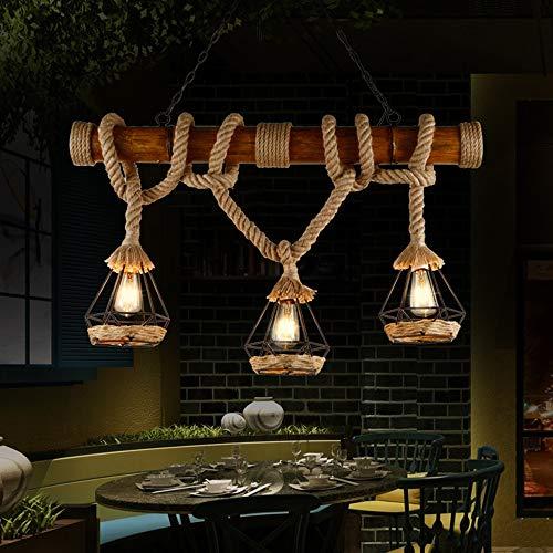 Vintage Bambus Kronleuchter Industrie 3-Lichter Seil Pendelleuchte Metalldraht Käfig Lampe Loft Rustikale Deckenleuchte (nicht Glühbirnen)