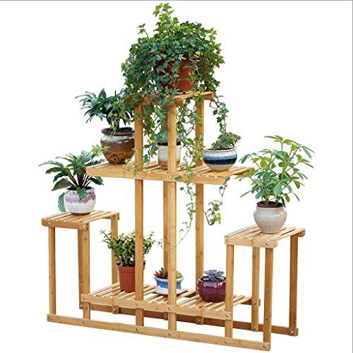 DJL Fleur Stand Solide Bois Plancher Multicouche Pliant Balcon Salon Fleur Pot Rack STS