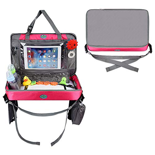 Car Seat Tray – Toddler Travel Tray with Tablet Holder – Car Travel Activity Setup for Kids – Multipurpose Car Seat Tray Table for Snacks, Toys, Water Bottle, USB Charging Port, Accessories (Pink)