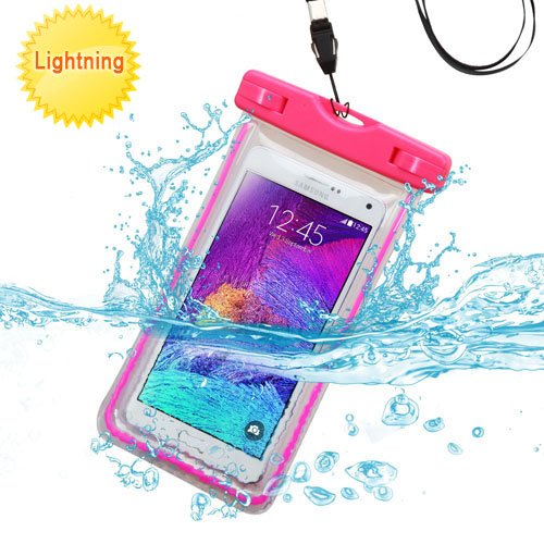 LG K7, LG Tribute 5, LG Treasure, LG Phoenix 2 Case [Waterproof Bag] Snow Proof Dirt Proof for Boating Kayaking Swimming Hiking (Hot Pink)