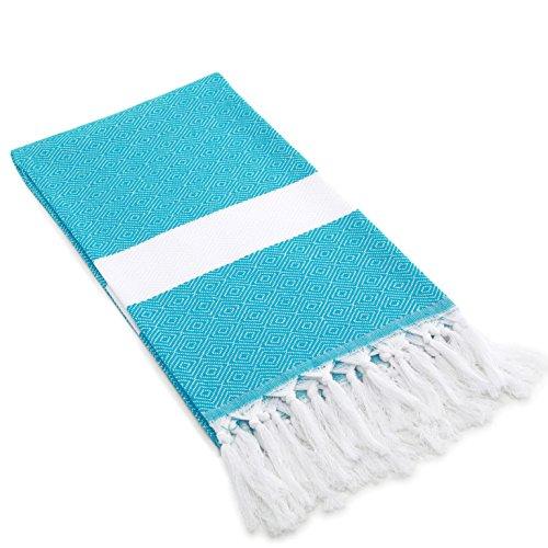 Linum Home Textiles 100% Coton Turc Diamant Tissage Fouta, Turquoise, 39\
