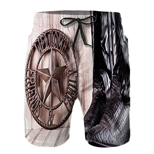 Men's Quick Dry Drawstring Beach Shorts Pants,Cowboy Boots and Metal Welcome Friends Family Sign,Summer Surf Long Swim Trunks Board Shorts 4XL