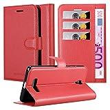 Cadorabo Hülle für ZTE Blade L5 Plus - Hülle in Karmin ROT – Handyhülle mit Kartenfach & Standfunktion - Hülle Cover Schutzhülle Etui Tasche Book Klapp Style