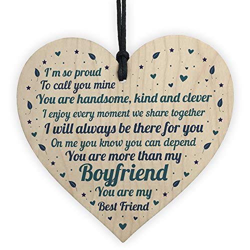 RED OCEAN Boyfriend Gifts Relationship Gifts For Him Handmade Wooden Heart...