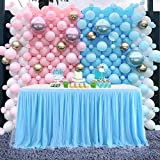 CO-AVE Baby Blue Table Skirt Tulle 6FT Table Skirting for Round or Rectangle Tables Dessert for Baby Shower Birthday Wedding Party Decorate(L 6(ft),H 30in)