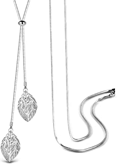 T400 Jewelers Long Chain Necklace Double Hollow-Out Leaves Internally Installed Cubic Zirconia Adjustable Chain Love Gift