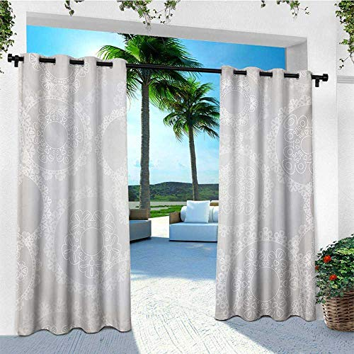 leinuoyi Pearls, Sun Zero Outdoor Curtains, Circles Lace Doily Pattern Modern and Romantic Bridal Style Design Artwork Print, for Gazebo W96 x L96 Inch Grey White