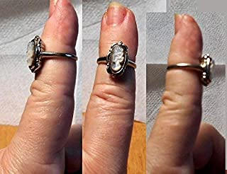 10K White Gold Mother of Pearl CAMEO Ring Hallmarked 10K w/symbol, Vintage Hand Carved MOP Cameo, Just Beautiful.