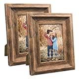 3.5x5 Picture Frames Set of 2 Vintage Brown Rustic Family Art Photo Frame for Vertical Horizontal Tabletop Standing or Wall Hanging