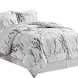 Bedsure Bed in A Bag 8 Pieces, Queen Comforter Set, Grey/Camel - Marble