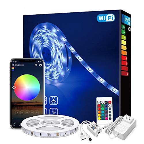 WRQING WIFI Tira LED RGB, Luces LED Smart de 16 millones de colores, Sincroniza con la Música, Control de voz, Compatibles con Alexa y Google Assitant, Echo, Para Casa, Cocina, TV, Fiesta Decoración