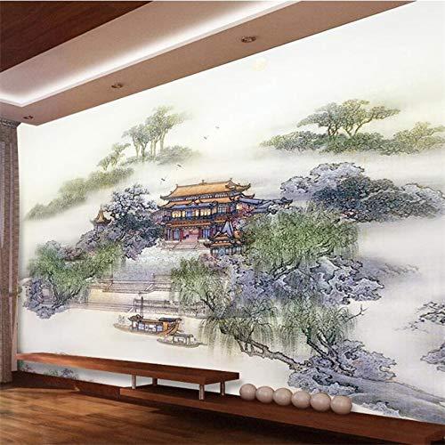 3D muurschildering op maat grote muurschildering mode huis decoratie paleis landschap paviljoen ondiepe woonkamer behang 350x250cm D