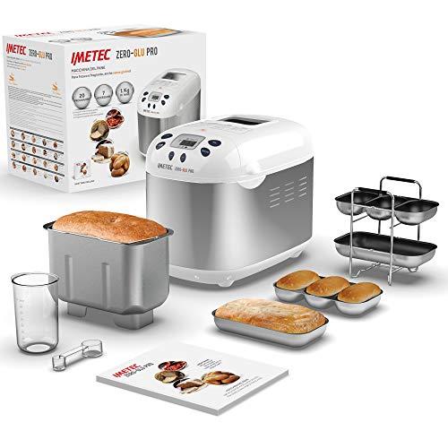 Imetec Zero-Glu Pro, máquina para hacer pan, chapatas y panecillos sin gluten para celíacos, masa para pizza, dulces, mermeladas, 20 programas, temperatura controlada de leudado, recetario