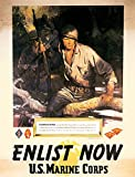 WWII recruiting poster for the US Marine Corps The picture shows and tells about the battle on Guadacanal Art by Sgt Tom Lovell Poster Print by Tom Lovell (18 x 24)