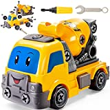 BUYGER Vehículo de Construcciones Grande, Desmontar y Ensamblarde Camión Hormigonera Juguete Educativo para Niño Infantil 3 4 5 Años
