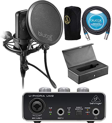 Audio-Technica AT4040 Condenser Microphone Bundle with U-PHORIA UM2 Audio Interface with 48V Phantom Power, Blucoil 10-FT Balanced XLR Cable, Pop Filter Windscreen, and 5X Cable Ties