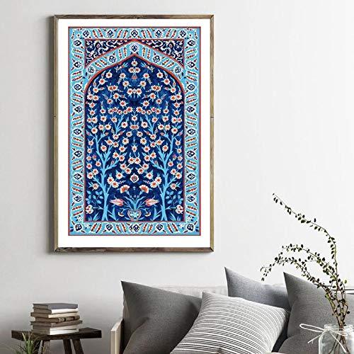 Arte de pared con azulejos turcos Árbol de la Vida Acuarela Impresiones Tradicional Otomana Floral Cuadro Lienzo Póster Inicio (50 x 70 cm) Sin marco