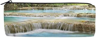 Pencil Bag, Stationery Pouch, Stationery Pouch, Coin Purse - Pen Holder Big Capacity Waterfall Rock Stairs in Forest
