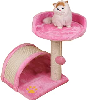 Cat Tree Scratching Post with Heavy Duty Sisal Simple Playhouse for Cat Jumping Relaxing Scratching,Pink