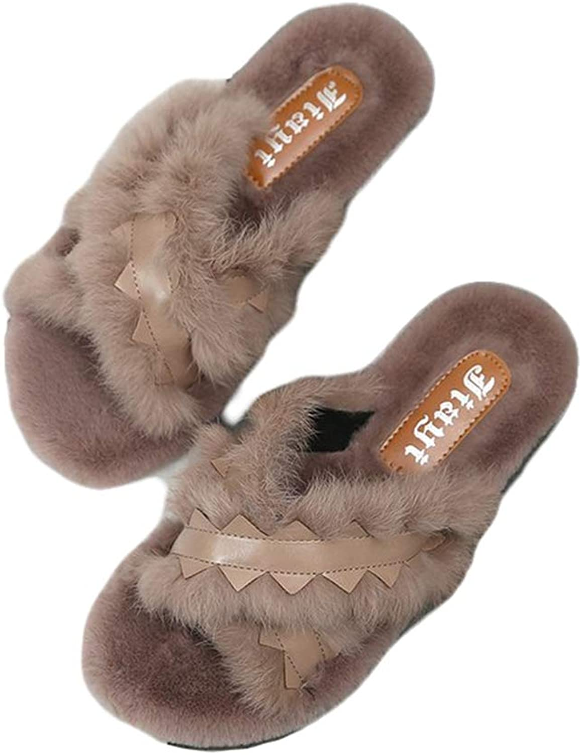 August Jim Women's Fluffy Flats shoes,Faux Fur Plush Warm Slippers House Slippers